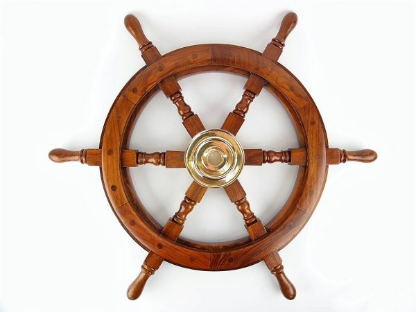 Ship's Wheel 45cm - Nautical Brass Gifts - Shore And More Gifts