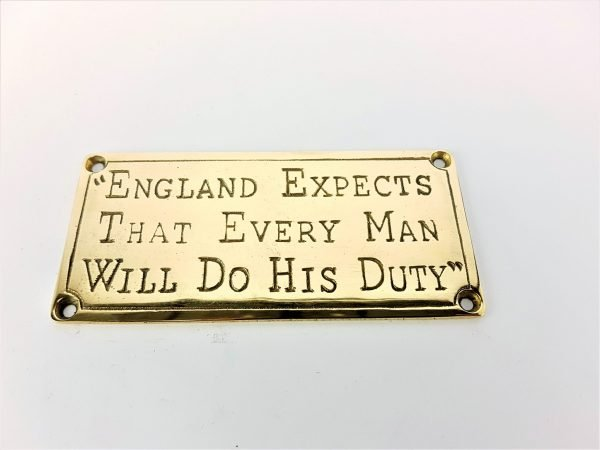 """Brass Plaque - """"England Expects..."""""""