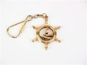 Brass Keyring - Windsurfer in Wheel