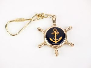 Brass Keyring - Enamel Anchor in Ships Wheel