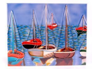 Ceramic plaque - Anchored yachts