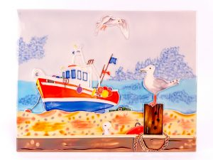 Ceramic plaque - Trawler & Seagull