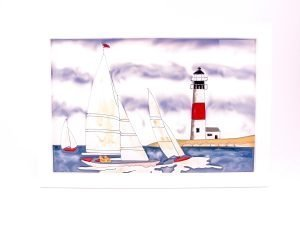 Seaside scenes - Yacht & Lighthouse