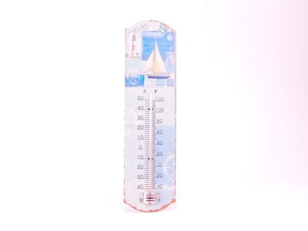 Rustic Seaside Metal Magnetic Thermometer