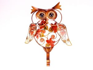 Metal and Glass Owl Hook