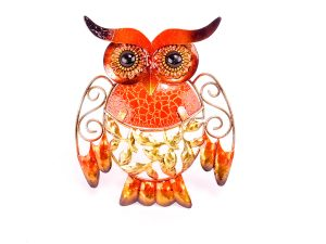 Metal And Glass Owl Plaque
