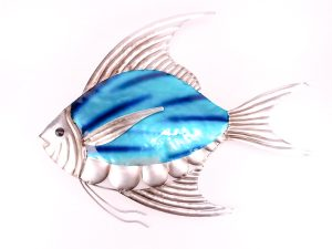 Blue & Silver Metal Angel Fish Plaque