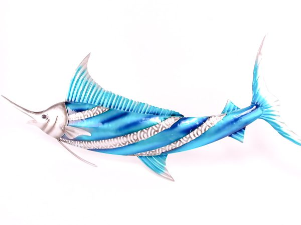 Blue Metal Marlin Plaque